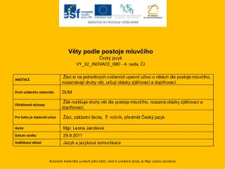 Věty podle postoje mluvčího Český  jazyk VY_32_INOVACE_080 - 4. sada, ČJ