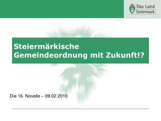 Steierm�rkische Gemeindeordnung mit Zukunft!?