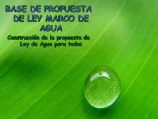 BASE DE PROPUESTA DE LEY MARCO DE AGUA Construcción de la propuesta de Ley de Agua para todos