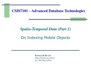 CSIS7101 – Advanced Database Technologies