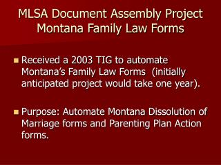 MLSA Document Assembly Project Montana Family Law Forms