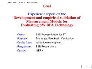 Object ESE Process Model for TT Purpose Exchange, Feedback, Verification