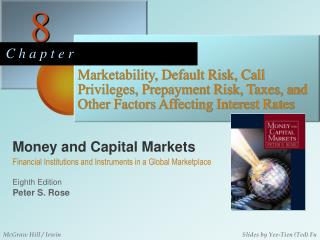 Marketability, Default Risk, Call Privileges, Prepayment Risk, Taxes, and Other Factors Affecting Interest Rates