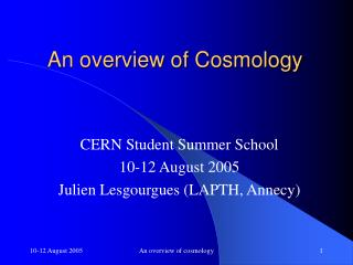 An overview of Cosmology