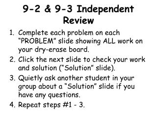 9-2 & 9-3 Independent Review