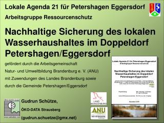 Lokale Agenda 21 für Petershagen Eggersdorf Arbeitsgruppe Ressourcenschutz