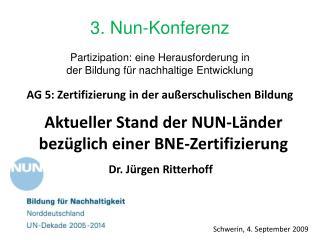 Aktueller Stand der NUN-Länder  bezüglich einer  BNE-Zertifizierung