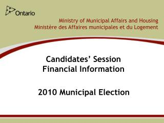 Candidates' Session Financial Information