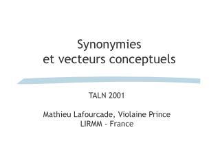 Synonymies  et vecteurs conceptuels