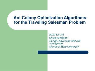 Ant Colony Optimization Algorithms for the Traveling Salesman Problem