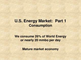 U.S. Energy Market:  Part 1 Consumption