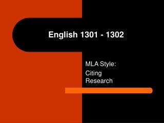 English 1301 - 1302