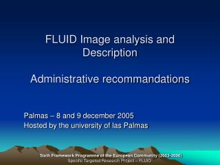 FLUID Image analysis and Description Administrative recommandations
