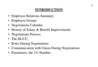 INTRODUCTION Employee Relations Summary Employee Groups Negotiations Calendar