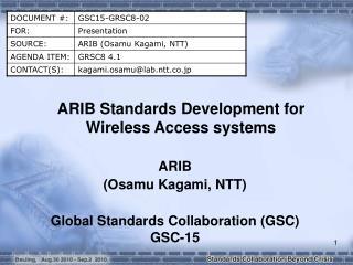 ARIB Standards Development for Wireless Access systems