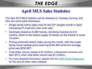April MLS Sales Statistics
