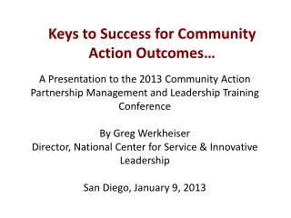 Keys to Success for Community Action Outcomes…