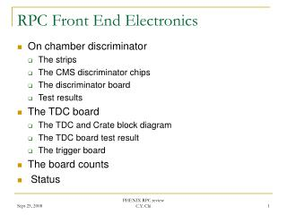 RPC Front End Electronics