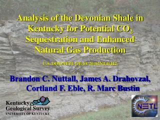 Brandon C. Nuttall, James A. Drahovzal, Cortland F. Eble, R. Marc Bustin
