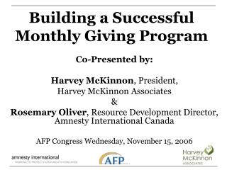 Building a Successful Monthly Giving Program