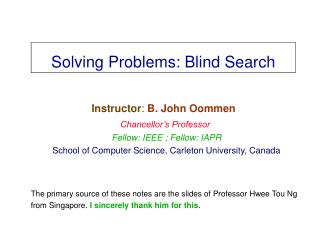 Solving Problems: Blind Search