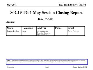 802.19 TG 1 May Session Closing Report