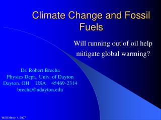 Climate Change and Fossil Fuels