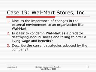 Case 19: Wal-Mart Stores, Inc