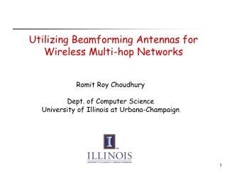 Utilizing Beamforming Antennas for Wireless Multi-hop Networks