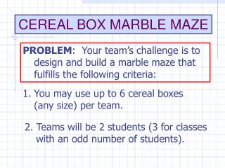CEREAL BOX MARBLE MAZE