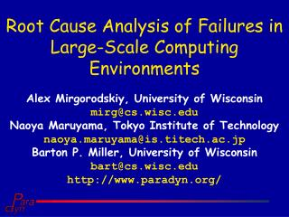 Root Cause Analysis of Failures in Large-Scale Computing Environments