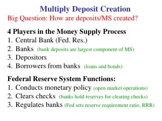 Multiply Deposit Creation Big Question: How are deposits/MS created?