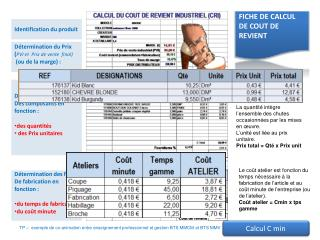 Détermination du coût Des composants en fonction :  des quantités   des Prix unitaires