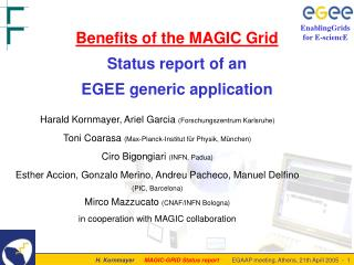 Benefits of the MAGIC Grid Status report of an  EGEE generic application