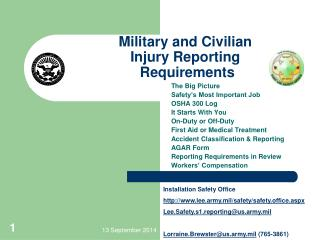 Military and Civilian Injury Reporting  Requirements