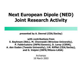 Next European Dipole (NED) Joint Research Activity