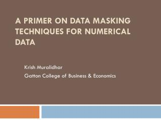 A Primer on Data Masking Techniques for Numerical Data