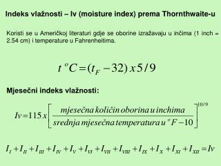 Indeks vlažnosti – Iv (moisture index) prema Thornthwaite-u