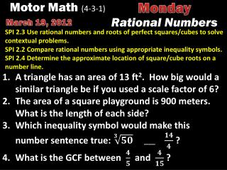 Motor Math  (4-3-1)