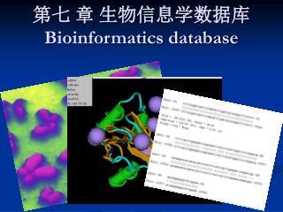 第七 章 生物信息学数据库 Bioinformatics database