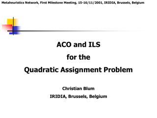 Metaheuristics Network, First Milestone Meeting, 15 -16/11/2001, IRIDIA, Brussels, Belgium
