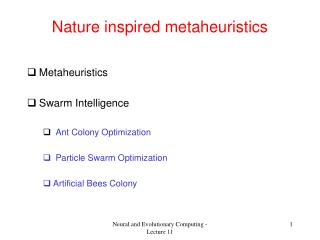 Nature inspired metaheuristics