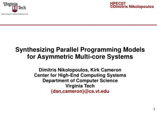 Synthesizing Parallel Programming Models for Asymmetric Multi-core Systems