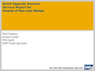 Quick Upgrade Analysis Service Report for  County of San Luis Obispo