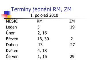 Termíny jednání RM, ZM