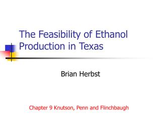 The Feasibility of Ethanol Production in Texas
