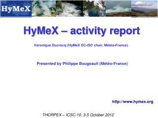 HyMeX – activity report
