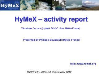 HyMeX – activity report
