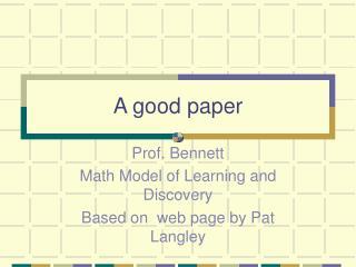A good paper