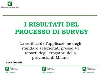 I RISULTATI DEL PROCESSO DI SURVEY
